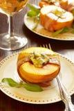 Perziken met bacon Stock Foto's