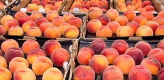 Perziken op vertoning bij de markt van de landbouwer Royalty-vrije Stock Afbeelding