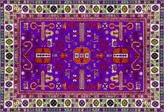 Perzische Tapijttextuur, abstract ornament Rond mandalapatroon, Oostelijke Traditionele Tapijtoppervlakte Turkoois groen rood kas Stock Foto's