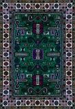 Perzische Tapijttextuur, abstract ornament Rond mandalapatroon, Oostelijke Traditionele Tapijtoppervlakte Turkoois groen rood kas Royalty-vrije Stock Afbeelding