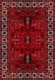 Perzische Tapijttextuur, abstract ornament Rond mandalapatroon, Oostelijke Traditionele Tapijtoppervlakte Turkoois groen rood kas Royalty-vrije Stock Fotografie