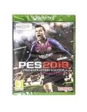PES 2019 het spel van Pro Evolution Soccer voor het XBOX ONE op een witte achtergrond royalty-vrije stock afbeelding
