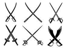 Épées, sabres et longswords réglés Photo libre de droits