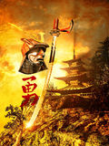 Épées samouraïs et casque Photo libre de droits
