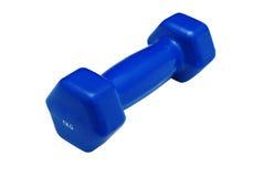 Pesa de gimnasia azul aislada en un blanco imágenes de archivo libres de regalías