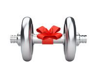 Pesa de gimnasia de plata con la cinta del regalo Foto de archivo libre de regalías