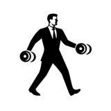 Pesa de gimnasia de Power Walking Holding del hombre de negocios libre illustration