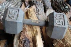 Pesa de gimnasia peso de 45 libras en el fondo de madera fotos de archivo