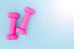 Pesa de gimnasia rosada del gimnasio Fotografía de archivo