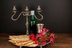 Pesach matzo  with wine and matzoh jewish passover bread Royalty Free Stock Photography