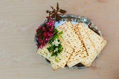 Pesach matzo  with wine and matzoh jewish passover bread Stock Photography