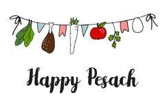 Pesach Passover kartka z pozdrowieniami, sztandar z ręka rysującym seder sznurkiem, ilustracja wektor