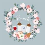 Pesach, Passover kartka z pozdrowieniami Wręcza patroszonego kwiecistego wianek z torah, Żydowska gwiazda, jajko, jabłko, szkło w royalty ilustracja