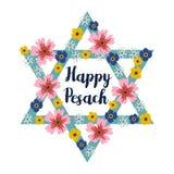 Pesach Passover kartka z pozdrowieniami z żydowską gwiazdą i kwiatami, ilustracyjny tło ilustracja wektor