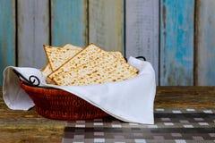 Pesach passover symbols of great Jewish holiday. Traditional matzoh, matzah or matzo. Retro style Stock Photo