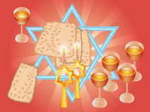 Pesach Seder of wijn en matza stock illustratie