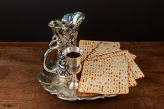 Pesach Still-life with wine and matzoh jewish passover bread Royalty Free Stock Photo