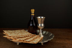Pesach Still-life with wine and matzoh jewish passover bread Royalty Free Stock Photography