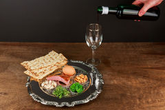 Pesach Still-life with wine and matzoh jewish passover bread Stock Images