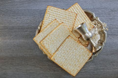 Pesach Still-life with wine and matzoh jewish passover bread Stock Image
