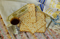 Pesach Still-life with wine and matzoh jewish passover bread. Pesach matzo passover with wine and matzoh jewish passover bread Royalty Free Stock Photography
