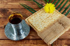 Pesach Still-life with wine and matzoh jewish passover bread Royalty Free Stock Photos