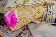 Pesach Still-life with wine and matzoh jewish passover bread Royalty Free Stock Images