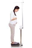Pesage de femme enceinte images libres de droits
