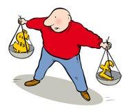 Pesage de l'argent illustration stock