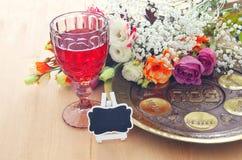 Pesah庆祝概念& x28; 犹太逾越节holiday& x29; 免版税库存图片
