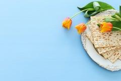 Pesah świętowania pojęcie & x28; żydowski Passover holiday& x29; Odgórny widok, mieszkanie nieatutowy obraz stock