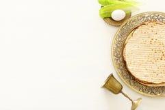 Pesah świętowania pojęcie & x28; żydowski Passover holiday& x29; Odgórny widok, mieszkanie nieatutowy fotografia stock