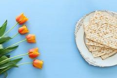 Pesah świętowania pojęcie & x28; żydowski Passover holiday& x29; Odgórny widok, mieszkanie nieatutowy zdjęcie royalty free