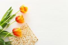 Pesah świętowania pojęcie & x28; żydowski Passover holiday& x29; Odgórny widok, mieszkanie nieatutowy obrazy stock