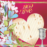 Pesah. Greeting card for the holiday of Pesach Stock Image