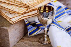 A Jewish Matzah bread with wine. Passover holiday concept. Pesah celebration concept Jewish Matzah bread with wine. Passover holiday concept Stock Images
