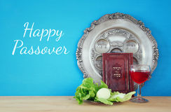 Pesah celebration concept & x28;jewish Passover holiday& x29;. Traditional book with text in hebrew: Passover Haggadah & x28;Passover Tale& x29 Royalty Free Stock Image
