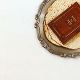 Pesah celebration concept & x28;jewish Passover holiday& x29;. Traditional book with text in hebrew: Passover Haggadah & x28;Passover Tale& x29 Royalty Free Stock Photos