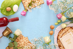 Pesah celebration concept & x28;jewish Passover holiday& x29;. Traditional book with text in hebrew: Passover Haggadah & x28;Passover Tale& x29 royalty free stock photography