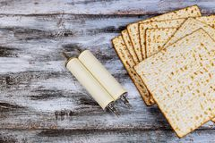 Pesah celebration concept jewish Passover holiday . Traditional book with text in hebrew:. Passover Haggadah Passover Torah scroll during Stock Images