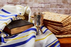 Pesah celebration concept jewish Passover holiday . Traditional book with text in hebrew: Passover Haggadah stock image