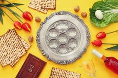 Pesah celebration concept & x28;jewish Passover holiday& x29;. Pesah celebration concept & x28;jewish Passover holiday& x29;. Traditional pesah plate Royalty Free Stock Photos