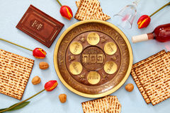 Pesah celebration concept & x28;jewish Passover holiday& x29;. Pesah celebration concept & x28;jewish Passover holiday& x29;. Traditional pesah plate Royalty Free Stock Photography