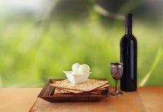 Pesah celebration concept (jewish Passover holiday) with wine and matza Stock Image