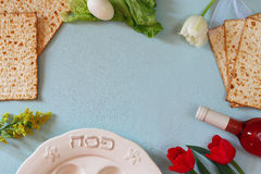Pesah celebration concept (jewish Passover holiday) with wine and matza Royalty Free Stock Images
