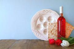 Pesah celebration concept (jewish Passover holiday) with wine and matza.  Royalty Free Stock Photos