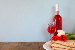 Pesah celebration concept (jewish Passover holiday) with wine and matza Royalty Free Stock Image