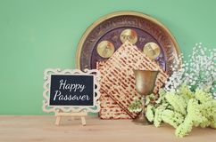 Pesah celebration & x28;jewish Passover& x29;. Traditional book with text in hebrew: Passover Haggadah & x28;Passover Tale& x29;. Pesah Stock Photography