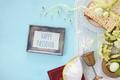 Pesah celebration & x28;jewish Passover& x29;. Traditional book with text in hebrew: Passover Haggadah & x28;Passover Tale& x29;. Pesah Stock Photo
