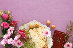 Pesah celebration & x28;jewish Passover& x29;. Traditional book with text in hebrew: Passover Haggadah & x28;Passover Tale& x29;. Pesah Royalty Free Stock Image